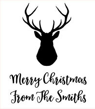 Personalised Laser Rubber Stamp - Merry Christmas: Stag Head