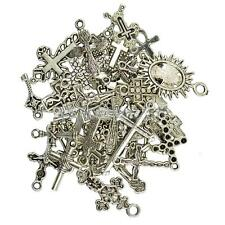 50Pcs Assorted Vintage Tibetan Silver Cross Charms Pendants Mix DIY Jewelry