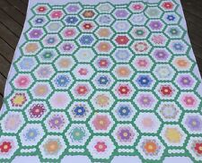 Stunning Antique Grandmothers Flower Garden Hand Pieced Quilt 8 spi Tiny Hexis