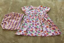 HANNA ANDERSSON Size 80 Pink W/ Colored Dots Dress with Striped diaper cover