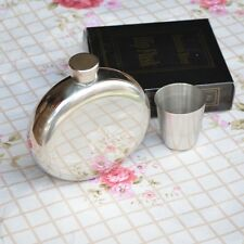 5oz Round Stainless Steel Camping Hip Flask For Whisky Liquor Screw Cap + Cup