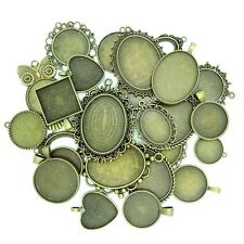 20Pcs Mix Style Shape Antique Bronze Cameo Setting Cabochon Base Bezel Pendant