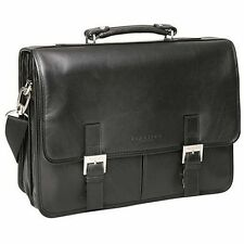 "Black Leather Kenneth Cole Business Flapover 15"" Laptop Portfolio Briefcase NEW!"