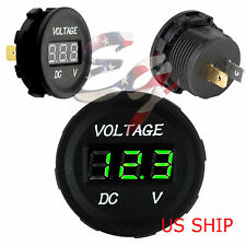 Green LED Digital Waterproof Voltmeter Gauge Meter 12V-24V Car Auto Motorcycle