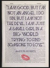 Vintage Marilyn Monroe Quote Wall Art Print Picture 1933 Dictionary Page Love