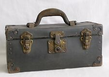 Vintage Antique Black Fibre Tool Box Telephone Repairman Carrying Case Chest