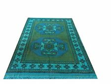 "6'4"" x 4'2""   AQUA  turquoise blue  TURKISH  oushak  Vintage Overdyed carpet rug"