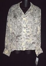 JONES NEW YORK BEIGE/GRAY 100% SILK LONG SLEEVE BLOUSE   SIZE 12   NEW WITH TAGS