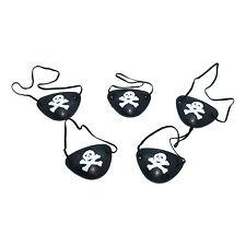 De plástico negro con calavera pirata y huesos Fancy Dress Eye Patch (5 Pack)