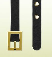 GUCCI WOMEN'S ANITQUE GOLD LOGO SQUARE BUCKLE BELT 85 cm 30 inches