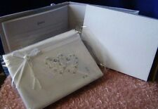 Satin Guest Book w Double Hearts & Diamonds for Wedding