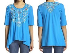 NWT JOHNNY WAS JWLA TUNIC EMBROIDERED TOP MORNING GLORY BLUE TRAPEZE HEM SZ 1X