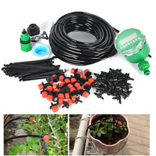 25m DIY Micro Drip Irrigation System Automatic Timer Plant Watering Garden Hose
