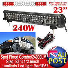 "23"" 240W PHILIPS LED Work Light Bar Flood Spot Combo ATV SUV Driving Lamp 24"""