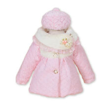 New Girls Pink Faux Fur Long Sleeves Coat with Hat 3-4 Years