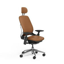 NEW Steelcase Adjustable Leap Desk Chair + Headrest - Camel Leather Black frame