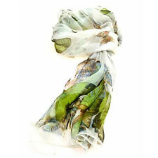 Ladies Multi Function 100% Silk Ivory Chiffon Scarf M