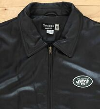 Reebok Men's Black Leather NFL Owners Collection NY Jets Jacket. L