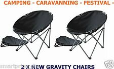 2 x MOON CHAIRS CAMPING FESTIVALS OUTDOOR FOLDING  FISHING SEAT BLACK FREE BAG