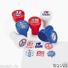 12 4th of July PATRIOTIC Party Favors Red White Blue Mini STAMPERS Stamps