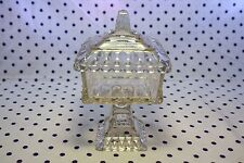 Vintage Clear Amber Glass Square Candy Dish Lidded Footed Pedestal Westmoreland