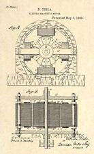 1888 Nikola Tesla Patent Art Print - Electro Magnetic Motor - 2