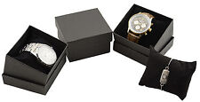 1 x Linen Watch Bracelet Bangle Boxes with Black Pillow Insert Packaging Case