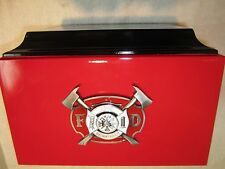 Red & Black Firemens Funeral Adult Cremation Urn with 5 Free Lines of Lettering