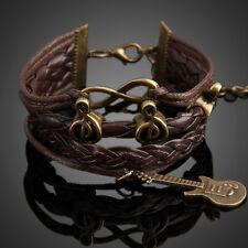 Fashion Retro Guitar Music Pendant Girl Braid Bracelet Lady String Band Bangle