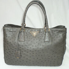 Prada Ostrich Struzzo Executive Tote Bag in Dark Gray