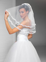 """2T White / Ivory Wedding Prom Bridal Elbow Veil With Comb 24""""- Lace Edge"""