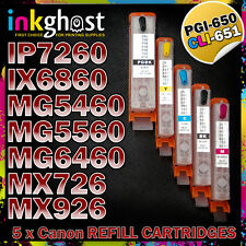 CLI-651 PGI650 Refillable Cartridges Canon compatible IP7260 IX6860 MX726 MX926