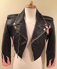 Rare PLAYBOY Black/Pink Motorcycle Biker Cropped Laced Leather Jacket Womens XS