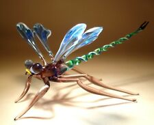 "Blown Glass Figurine ""Murano"" Gorgeous Blue and White DRAGONFLY with Green Body"