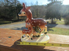 Vintage Spotted Doe Fawn Brown Deer Ceramic Figurine Japan Christmas Reindeer