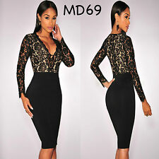 Sz 10 12 Black Lace Long Sleeve Midi Sexy Formal Prom Cocktail Party Slim Dress