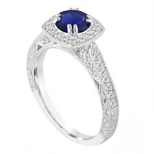 Platinum Blue Sapphire And Diamonds Engagement Ring 1.50 Carat Vintage Style