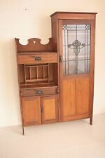 Leadlight stained glass secretaire bookcase cabinet.