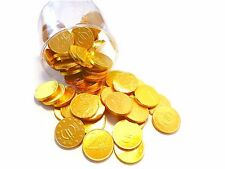 70 Chocolate Gold coins in Gold foil und Euro coins Optik in Transparent box