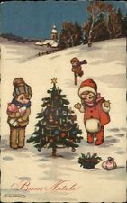 BUON NATALE CHRISTMAS Children at Christmas Tree in Snow c1910 Postcard