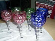 6 Weinroemer farbig Bleikristall Überfangglas Toller Schliff