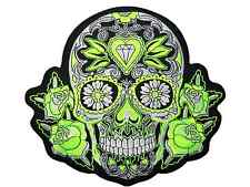 Green Sugar Rose Diamond Skull Day Dead Muertos Giant Jacket Back Patch 9.5""