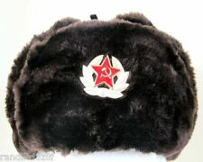 Authentic Dark Brown Russian Army Ushanka Winter Hat Soviet Army soldier Large