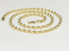 "18KT Solid Gold Diamond Cut Rope Chain Necklace 24"" 4 mm 35 grams (KDC030)"