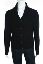 Dunderdon Mens Black Wool Button Down Two Pocket Cardigan Sweater Size Medium