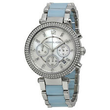 Michael Kors Parker Mother Of Pearl Dial Silver and Blue Stainless Steel Band