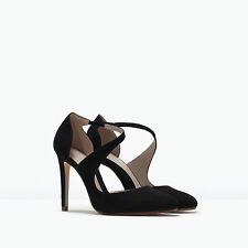 ZARA BLACK ASYMMETRIC STRAP ROUND TOE COURT SHOES SZ UK 5 EUR 38 US 7.5 BNIB