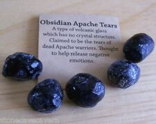 APACHE TEARS 20mm x 15mm - PACK FIVE GENUINE NATURAL APACHE TEARS WITH POUCH