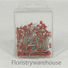 Pearl head pins Red florists corsage craft buttonhole 4cm Box of 144