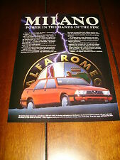 1987 ALFA ROMEO MILANO ***ORIGINAL 1987 ADVERTISEMENT / PRINT AD***
